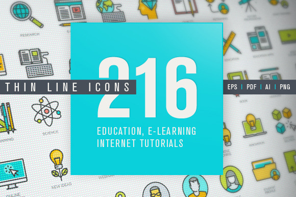 Thin Line Icons For Online Education