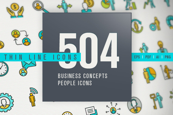 Set Of Thin Line People Icons Bundle