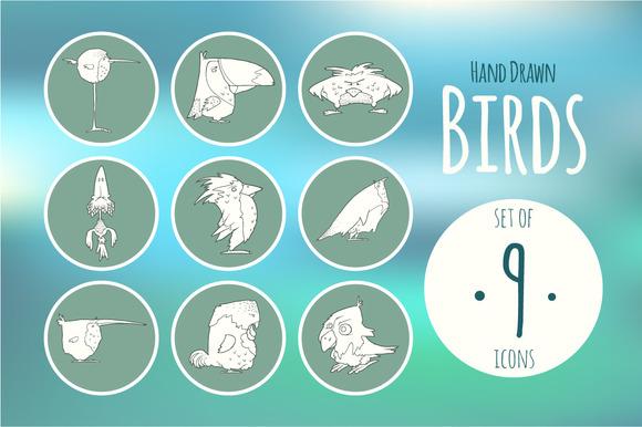 Set Hand Drawn Vector Cartoon Birds