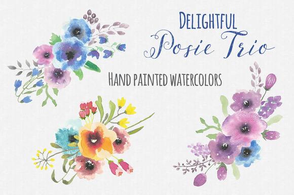 Trio Of Watercolor Posies