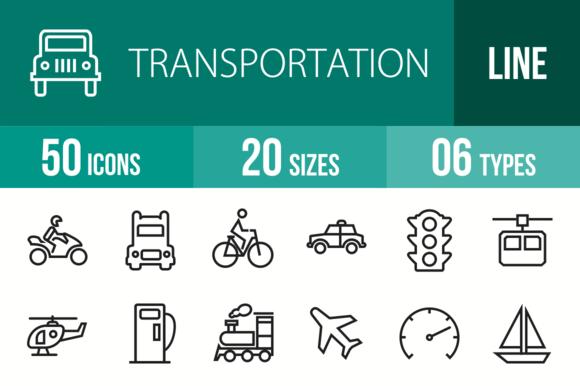 50 Transportation Line Icons