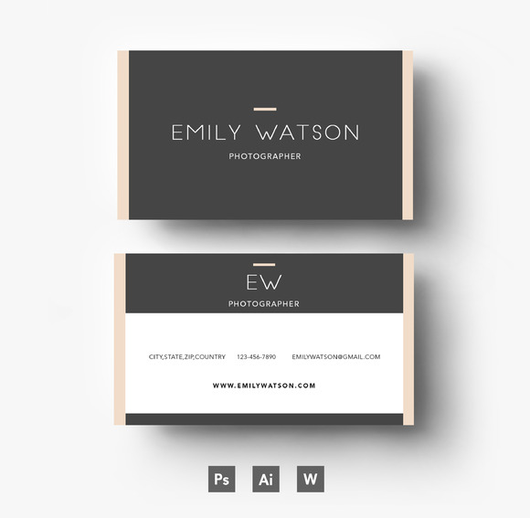 Three Colour Business Card Template