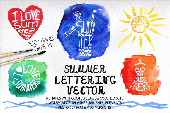 Summer Lettering Big Set
