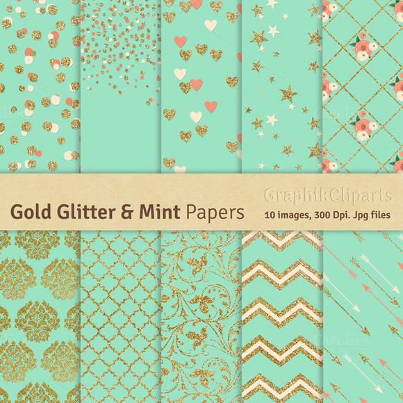 Gold Glitter Mint Digital Papers