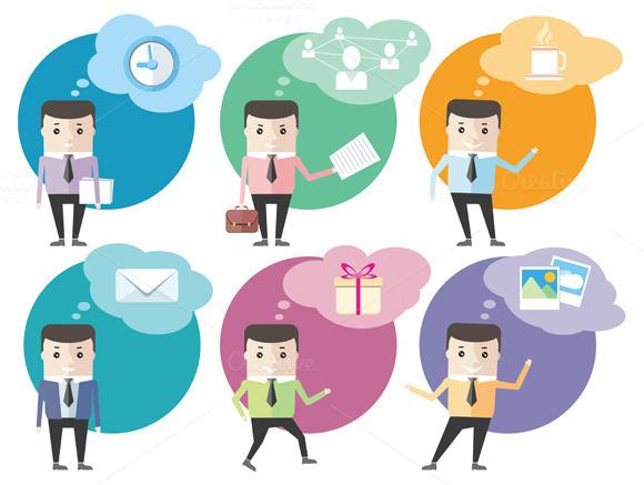 Business Man Icons Dialog Bubbles