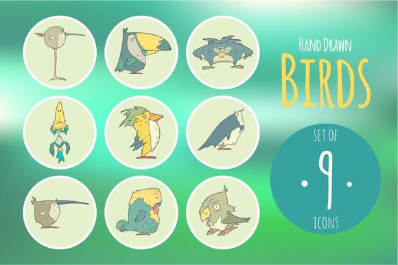 Set Of Hand Drawn Vector Birds