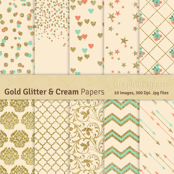 Gold Glitter Cream Digital Papers