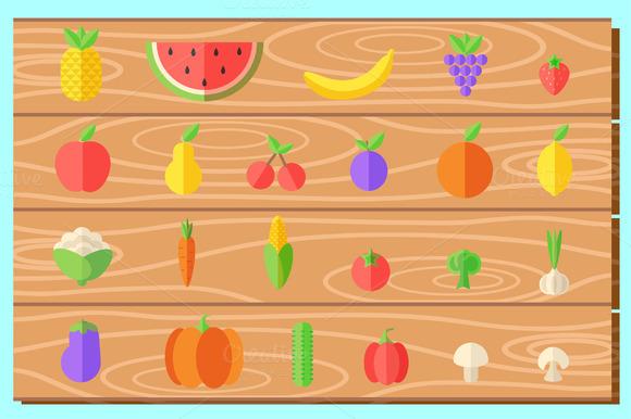 Flat Healthy Food Set In Vector