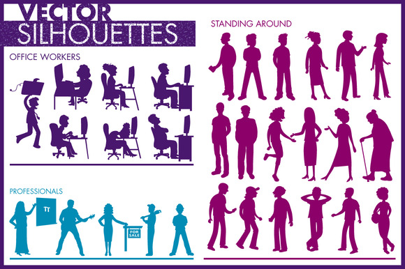 Vector Silhouettes Of People 1 Cat