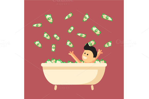 Stock graphic money bath in flat design for Money bathroom decor