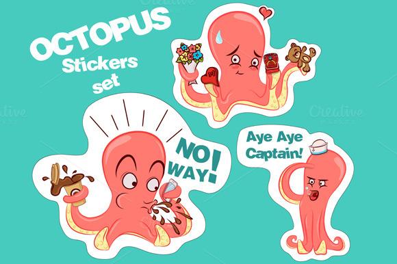 Octopus Stickers In Vector
