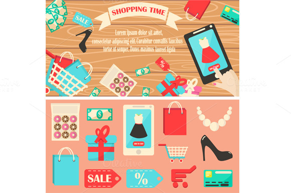 Shopping Time Banner With Icons