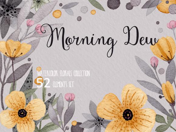 Watercolor Floral Design Set
