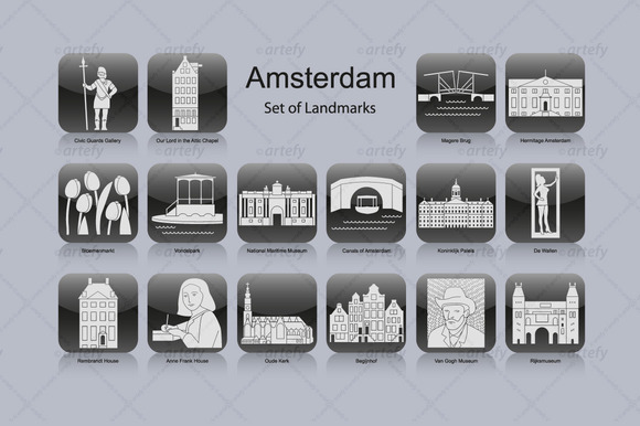 Amsterdam Landmark Icons