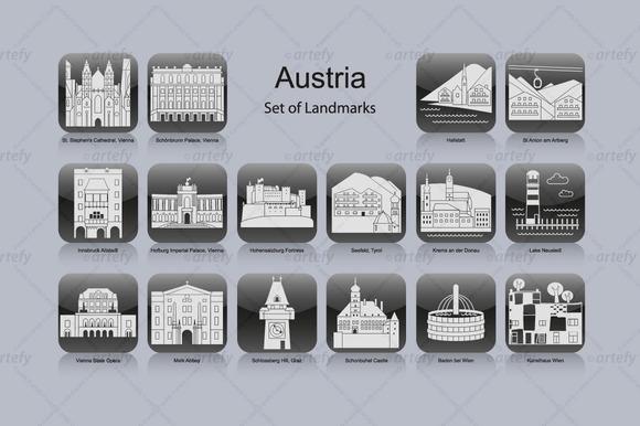 Austria Landmark Icons