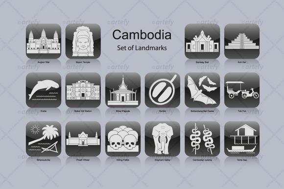 Cambodia Landmark Icons