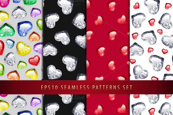 Colorful Gem Hearts Seamless Pattern
