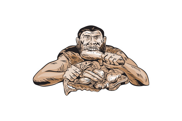 Neanderthal Man Eating Paleo Diet Et
