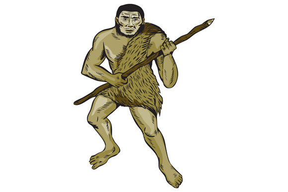 Neanderthal Man Holding Spear Etchin