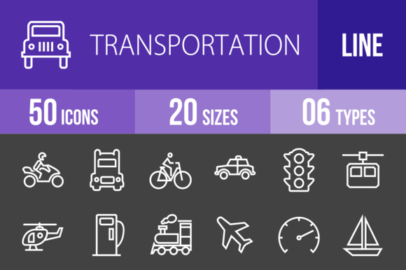 50 Transport Line Inverted Icons