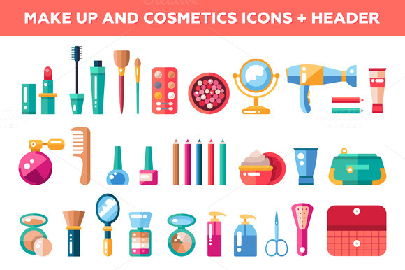 Makeup And Cosmetics Icons Header