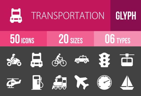 50 Transport Glyph Inverted Icons