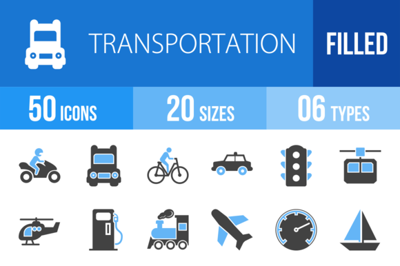 50 Transport Blue Black Icons