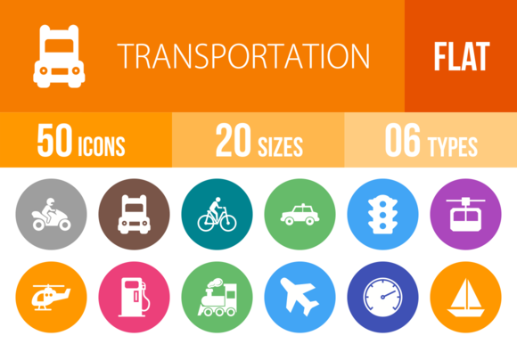 50 Transport Flat Round Icons