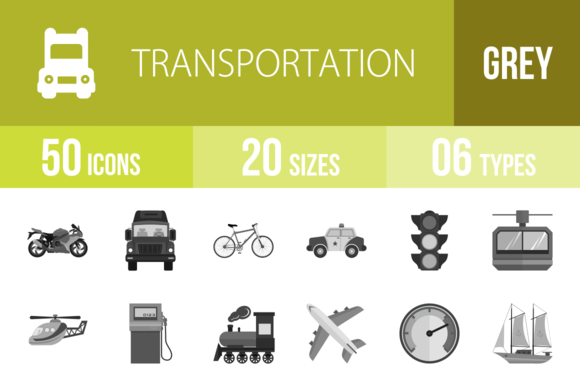 50 Transport Greyscale Icons