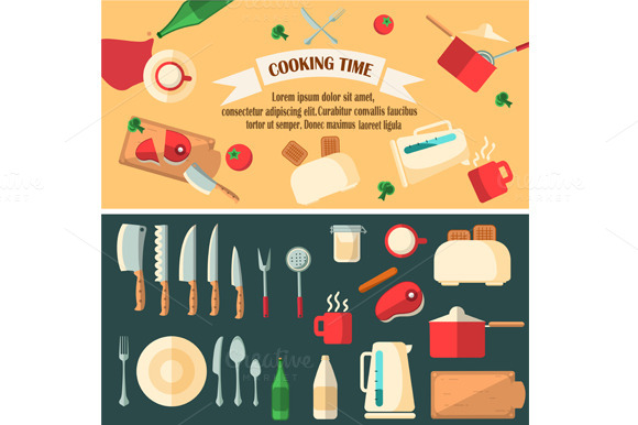 Cooking Time Banner With Icons