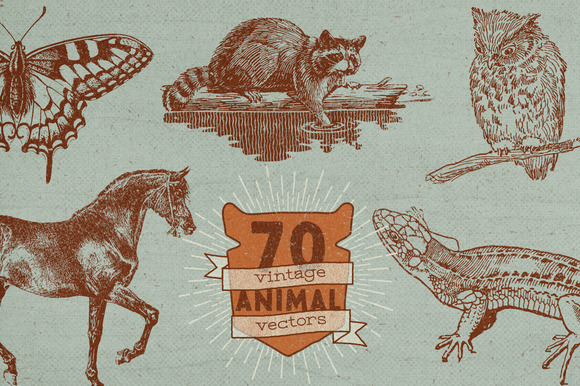 70 Vintage Animal Vectors