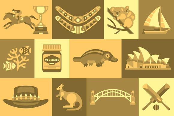 Australia Flat Icons Design