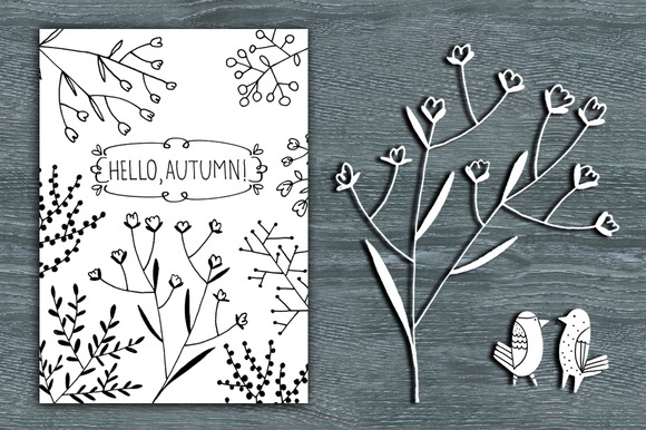 Hello Autumn Line Art Card Clipart