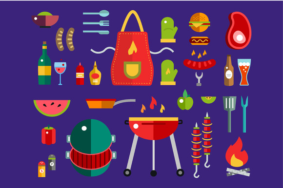 BBQ And Food Icons Set Barbecue
