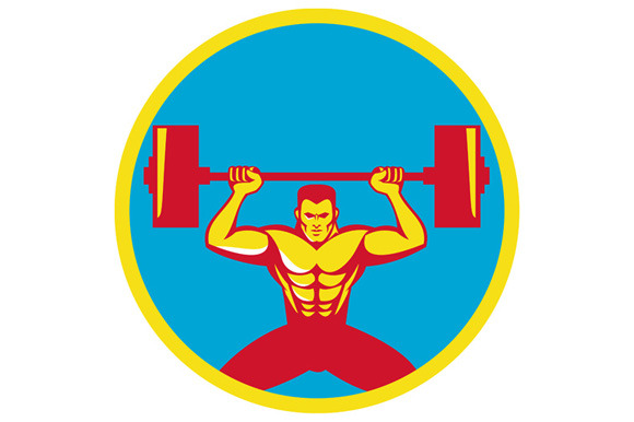 Weightlifter Lifting Weights Front C