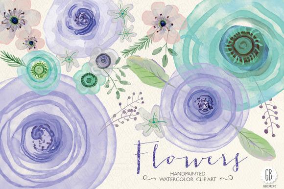 Watercolor Lavender Mint Flowers