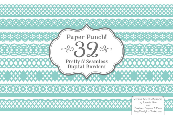 Aqua Vector Lace Borders Clipart