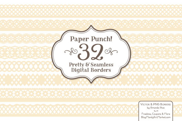 Cream Lace Clipart Borders