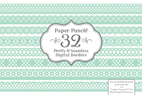 Mint Lace Borders Vectors Clipart