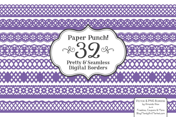 Purple Lace Clipart Vectors