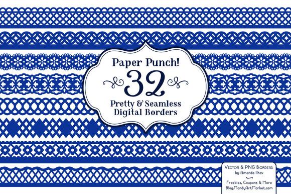 Royal Blue Lace Clipart Borders