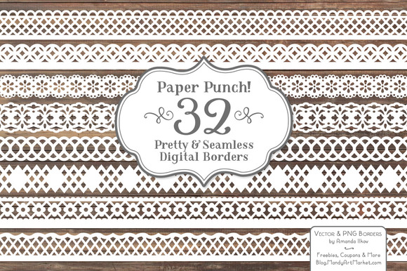 White Lace Borders Clipart Vectors