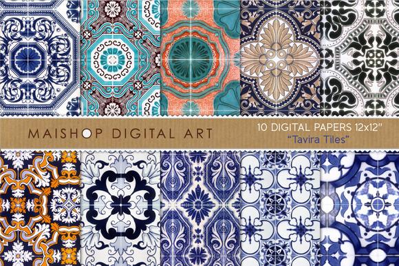 Digital Paper Tavira Tiles