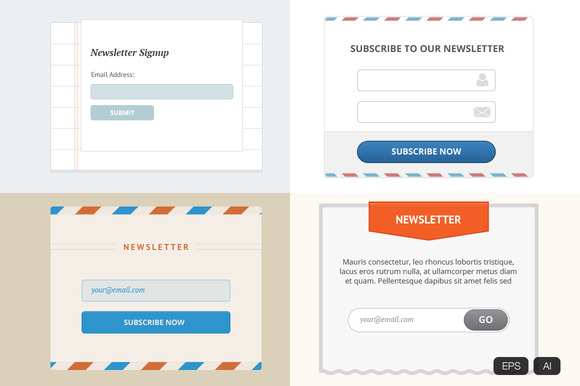 Newsletter Web Form Vector