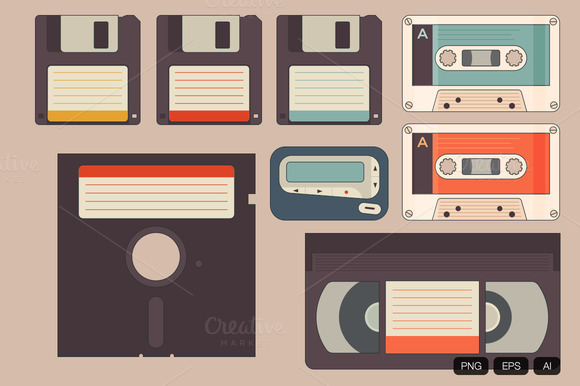 8 Vintage Storage Vector Icon