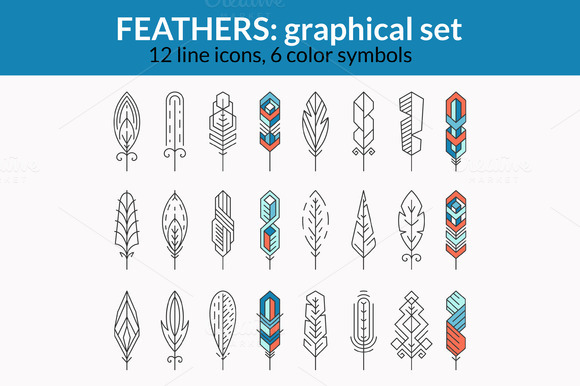 Graphical Feathers Set