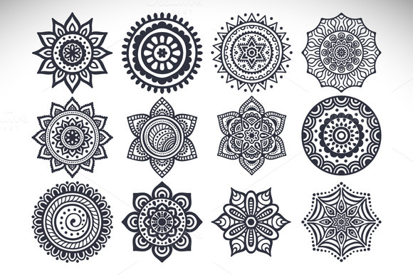 12 Vector Mandalas Seamless Patter