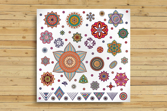 Vector Mandalas End Ethnic Elements