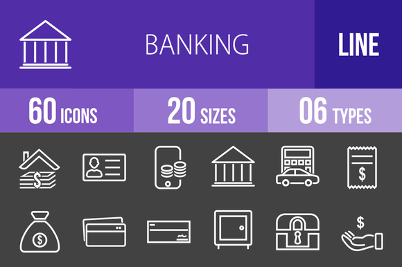 60 Banking Line Inverted Icons