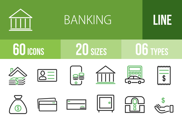 60 Banking Line Green Black Icons
